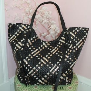 Anthropologie Woven Tote Bag Black and Gold
